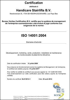 Handicare monte-escaliers ISO 14001-2004