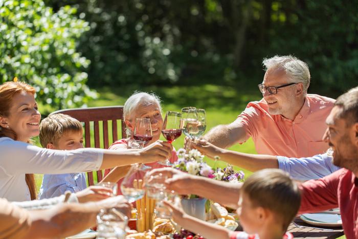 Repas familial au jardin