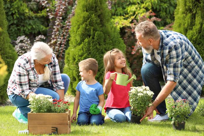 Les grands-parents jardiner avec leurs petits-enfants