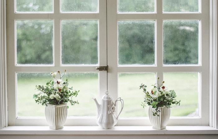 Deux pots de fleurs sur un rebord de fenêtre