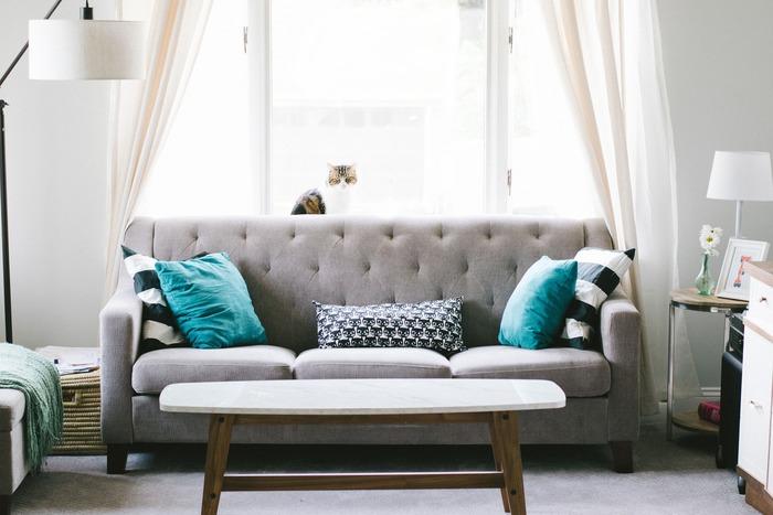 Salon bien rangé avec canapé gris