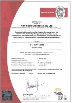 Accessibilité Handicare ISO 9001: 2015